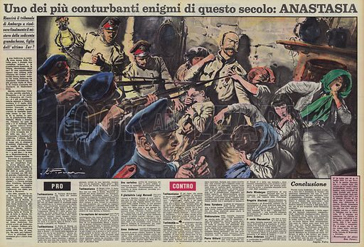 Uno dei piu conturbanti enigmi di questo secolo, Anastasia. Illustration for La Domenica Del Corriere, 27 April 1958.