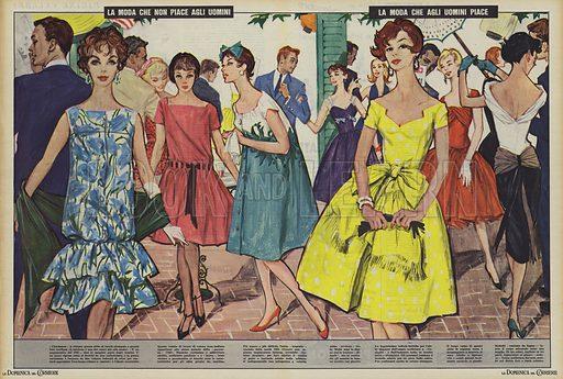 La Moda Che Non Piace Agli Uomini, La Moda Che Agli Uomini Piace. Illustration for La Domenica Del Corriere, 8 June 1958.
