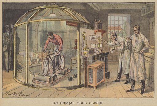A man riding a bicycle inside a bell jar in a scientific experiment. Un Homme Sous Cloche. Illustration for Le Petit Parisien (Supplement Litteraire Illustre), 24 May 1908.