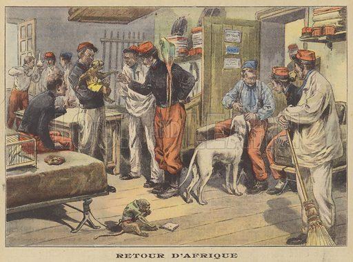 French soldiers back from serving in Africa. Retour D'Afrique. Illustration for Le Petit Parisien (Supplement Litteraire Illustre), 7 June 1908.