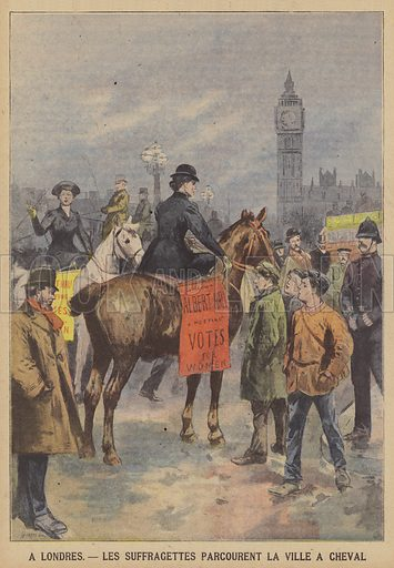 Suffragettes riding through central London on horseback