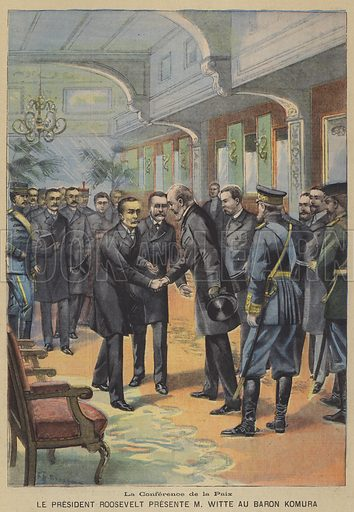 Peace negotiations between Russia and Japan to end the Russo-Japanese War at Portsmouth, New Hampshire. President Theodore Roosevelt presenting Russian Prime Minister Sergei Witte to Japanese Foreign Minister Baron Komura. La Conference de la Paix, Le President Roosevelt Presente M Witte Au Baron Komura. Illustration for Le Petit Parisien, 27 August 1905.