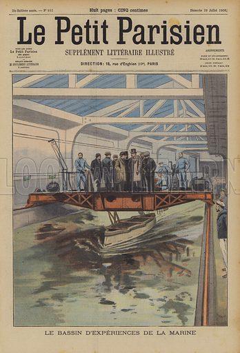 French Navy testing tank. Le Bassin D'Experiences De La Marine. Illustration for Le Petit Parisien, 29 July 1906.