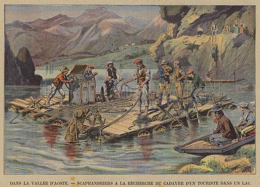 Divers searching for the body of a tourist in a lake in the Val d'Aosta, Italy. Dans La Vallee D'Aoste, Scaphandriers A La Recherche Du Cadavre D'Un Touriste Dans Un Lac. Illustration for Le Petit Parisien, 2 September 1906.