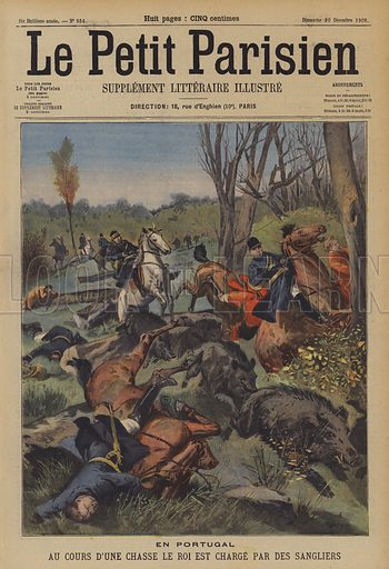 King Carlos I of Portugal unhorsed by wild boar during a hunt. En Portugal, Au Cours D'Une Chasse Le Roi Est Charge Par Des Sangliers. Illustration for Le Petit Parisien, 30 December 1906.