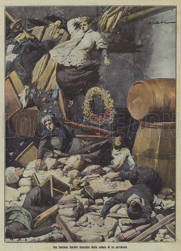 A funeral disrupted by the collapse of a floor. Una funzione funebre funestata dalla caduta di un pavimento. Illustration for La Tribuna Illustrata, 12-19 January 1913.