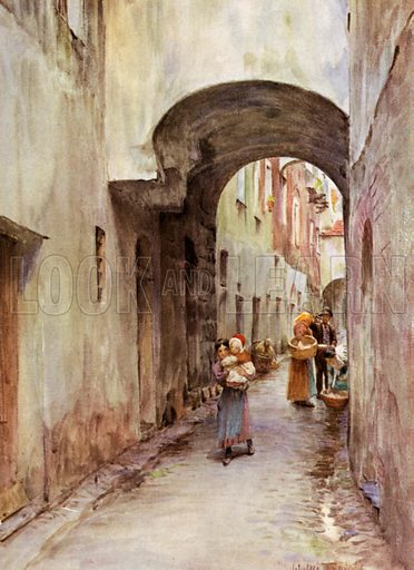 Lane, Noli, Italy. Illustration for An Artist in the Riviera by Walter Tyndale (Hutchinson, 1915).