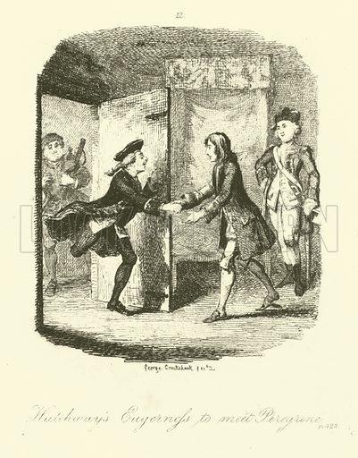 Illustration for Peregrine Pickle by Tobias Smollett.  Illustration for The Miscellaneous Works of Tobias Smollett (Henry G Bohn, 1858).