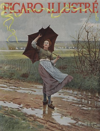Giboulees de Mars (March Showers). Cover of Le Figaro Illustre, March 1893.