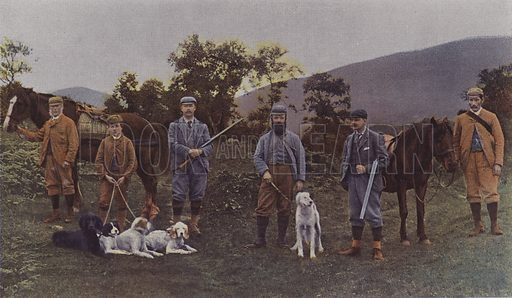 Grouse hunting party in Scotland. Illustration from Le Figaro Illustre, October 1894.
