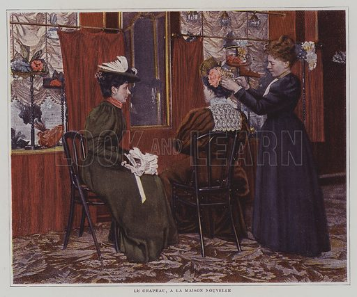 Having a hat made at Maison Nouvelle, Paris. Illustration from an article on Parisian women's dress in Le Figaro Illustre, May 1895.