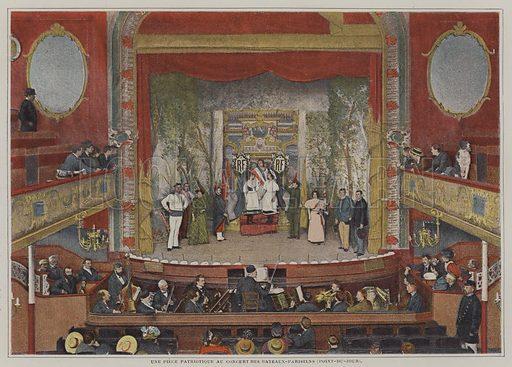 A patriotic piece at the Concert des Bateaux-Parisiens, Point-du-Jour, Paris. Illustration from an article on the cafe-concerts of Belle Epoque Paris in Le Figaro Illustre, May 1896.