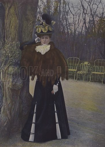 Woman in a Paris park. Illustration from an article on women in the Bois de Boulogne and the Bois de Vincennes in Paris in Le Figaro Illustre, January 1899.