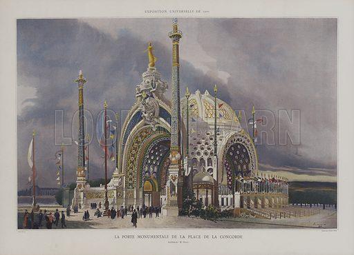 The Monumental Gateway on the Place de la Concorde, Exposition Universelle 1900, Paris, designed by Rene Binet. Illustration from Le Figaro Illustre, 1899.