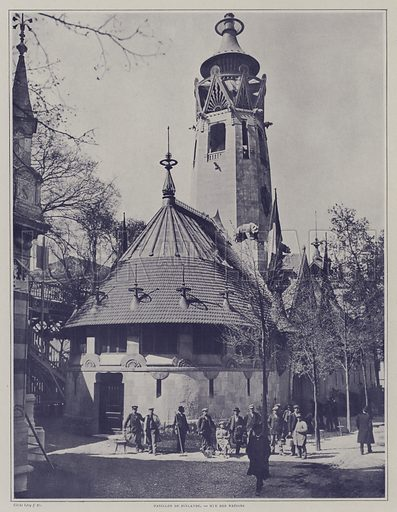 The pavilion of Finland at the Exposition Universelle 1900, Paris. Illustration from Le Figaro Illustre, 1900.