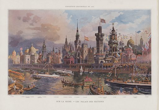 Pavilions of foreign nations on the banks of the Seine at the Exposition Universelle 1900, Paris. The pavilions of Italy, Turkey, the United States, Austria, Bosnia and Herzegovina, Hungary, Great Britain, Belgium, Norway, Germany, Spain, Monaco, Finland, Sweden, Greece, Romania and Serbia. Illustration from Le Figaro Illustre, 1900.
