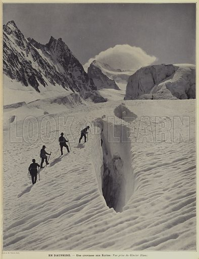 In the Dauphine region of the French Alps: a crevasse on the Glacier Blanc on the Barre des Ecrins. Illustration from Le Figaro Illustre, July 1903.