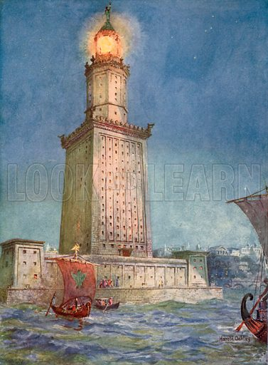 Ancient Beacon of the Mediterranean: The Pharos of Alexandria. Illustration for Wonders of the Past edited by JA Hammerton (Fleetway, c 1910).