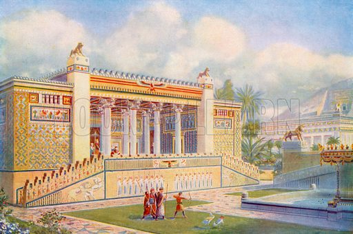 Facade of the Palace of Darius at Persepolis bright with colour, movement and life. Illustration for Wonders of the Past edited by JA Hammerton (Fleetway, c 1910).