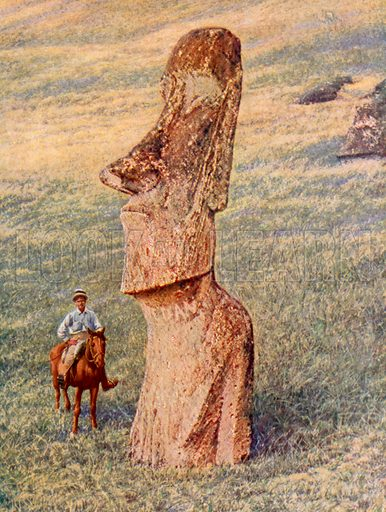 Strange features of a still standing Easter Island image