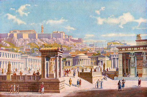 Centre of Athenian life, the Agora below the Acropolis. Illustration for Wonders of the Past edited by JA Hammerton (Fleetway, c 1910).