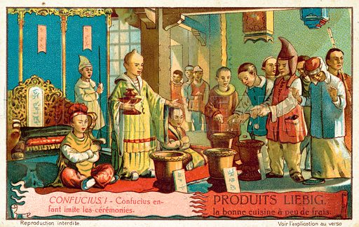 Confucius imitating ceremonies when a child. French educational card.