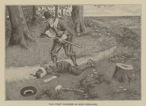 The first murder in New England. Illustration for Ellis's History of the United States by Edward S Ellis (Helman Taylor, c 1899).