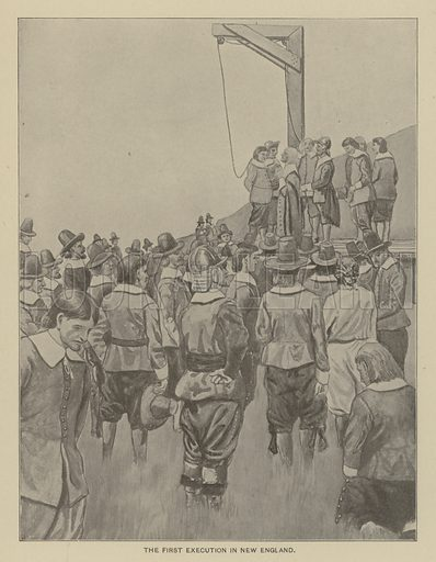 The first execution in New England. Illustration for Ellis's History of the United States by Edward S Ellis (Helman Taylor, c 1899).