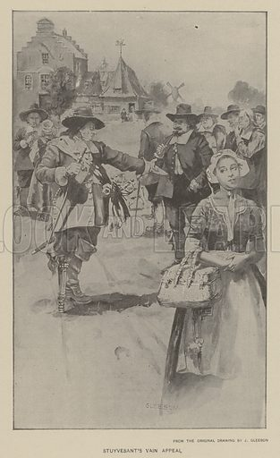 Stuyvesant's vain appeal. Illustration for Ellis's History of the United States by Edward S Ellis (Helman Taylor, c 1899).