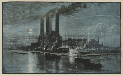The thing that moves London. Lots Road Power Station. Illustration for The New Lights O'London (Herbert Jenkins, 1926).