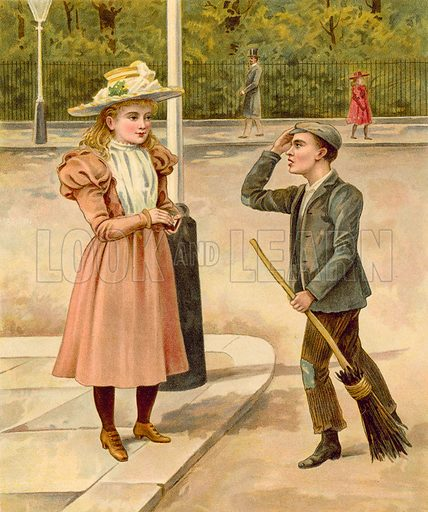 Rich girl giving money to poor boy, a crossing sweeper.