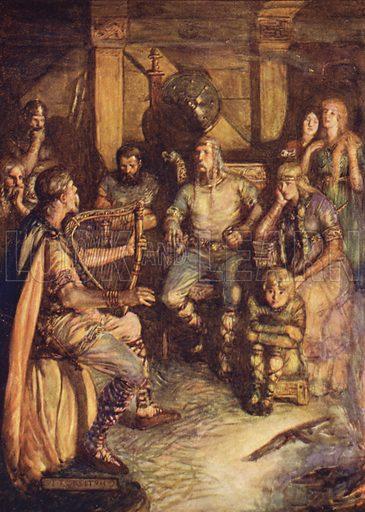 The gleeman sings the deeds of Beowulf