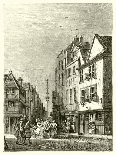 Nell Gwyn at the door of her lodgings in Drury Lane, London. The Maypole in the Strand, restored after the Restoration of the monarchy, can be seen in the background. Illustration from The Story of Nell Gwyn and the Sayings of Charles the Second by Peter Cunningham (Bradbury & Evans, London, 1852).