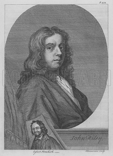 John Riley (1646–1691), English portrait painter. Illustration from The Story of Nell Gwyn and the Sayings of Charles the Second by Peter Cunningham (Bradbury & Evans, London, 1852).