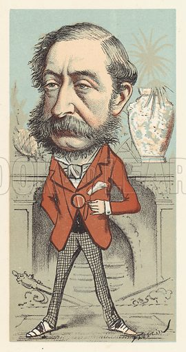 Henry Herbert, 4th Earl of Carnarvon, Secretary of State for the Colonies, 1874. Cartoon from the London Sketch Book, July 1874.