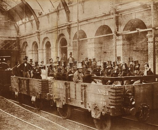 Gladstone in the first Metropolitan Train, 1863. From 1930s reproduction of photograph, gravure printed.