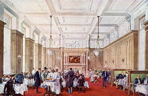 The Gentlemen's Dining Room, Simpsons In The Strand.  Illustration for The Savoyard (c 1918).