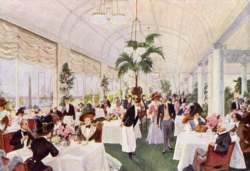 Savoy Hotel, The Terrace Restaurant, overlooking The Embankment. Illustration for The Savoyard (c 1918).