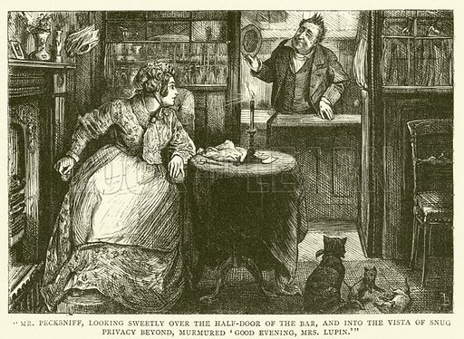 Illustration for Martin Chuzzlewit.  Illustration for the Household Edition of the Works of Charles Dickens (Davis and Porter, c 1890).