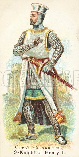 Knight, King Henry I.  Illustration for one of a series of cigarette cards on the subject of British Warriors produced by Cope Bros & Co, early 20th century.