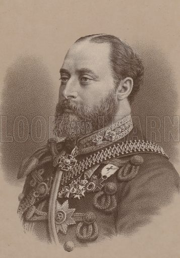 Albert Edward, Prince of Wales (1841–1910). The future King Edward VII, eldest son of Queen Victoria. Illustration for William Ewart Gladstone and his Contemporaries by Thomas Archer (Blackie, c 1890).