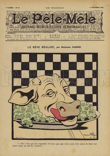 Le reve realise. Illustration for Le Pele-Mele, 1901.