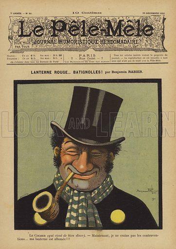 Lanterne rouge… batignolles! Illustration for Le Pele-Mele, 1901.