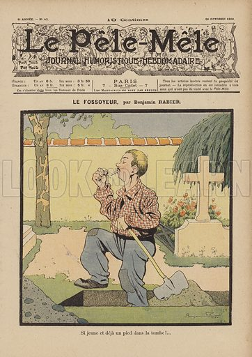 Le fossoyeur. Illustration for Le Pele-Mele, 26 October 1902.