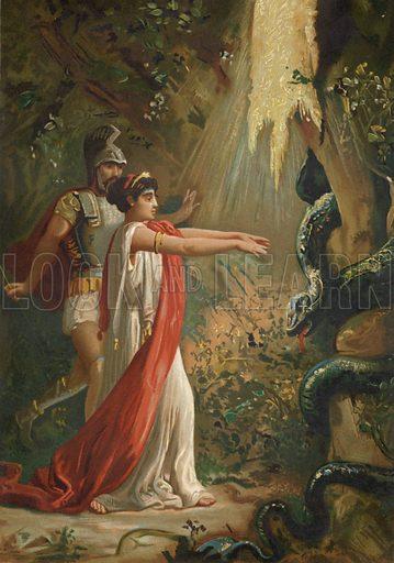Medea putting the dragon guarding the Golden Fleece to sleep. Illustration for Las Supersticiones De La Humanidad by Jose Coroleu (F Seix, 1881).  Chromolithograph of exceptional quality.