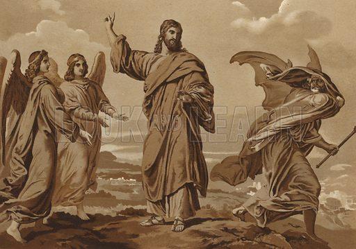 Satan attempting to tempt Christ