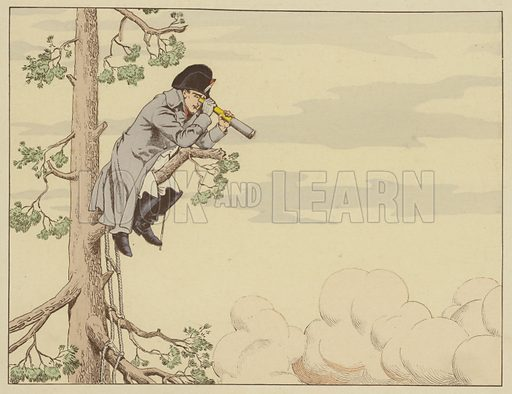 Napoleon watching the Battle of Aspern-Essling from the top of a tree on the island of Lobau, 22 May 1809. Illustration for Le Grand Napoleon des Petits Enfants par Job et J de Marthold (Plon-Nourrit, 1893).