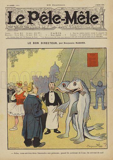 Le bon directeur. Illustration for Le Pele-Mele, 1906.