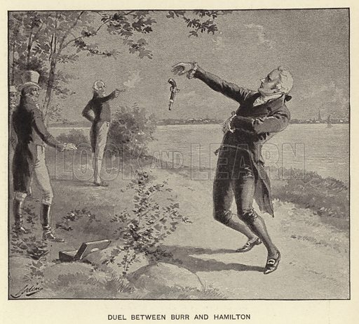 Duel between Burr and Hamilton. Illustration for History of Our Country by Edward S Ellis (Francis R Niglutsch, c 1900).