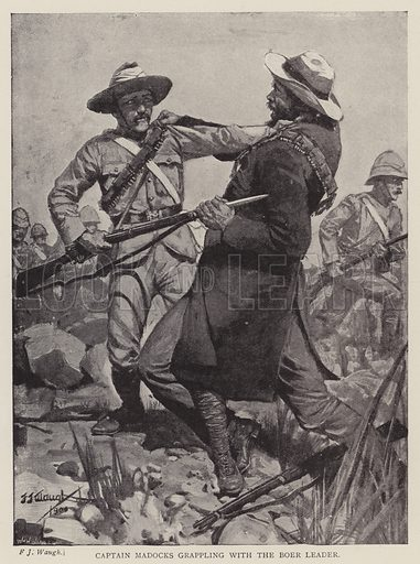 Captain Madocks grappling with the Boer leader. Illustration for With The Flag To Pretoria by H W Wilson (Harmsworth, 1900).
